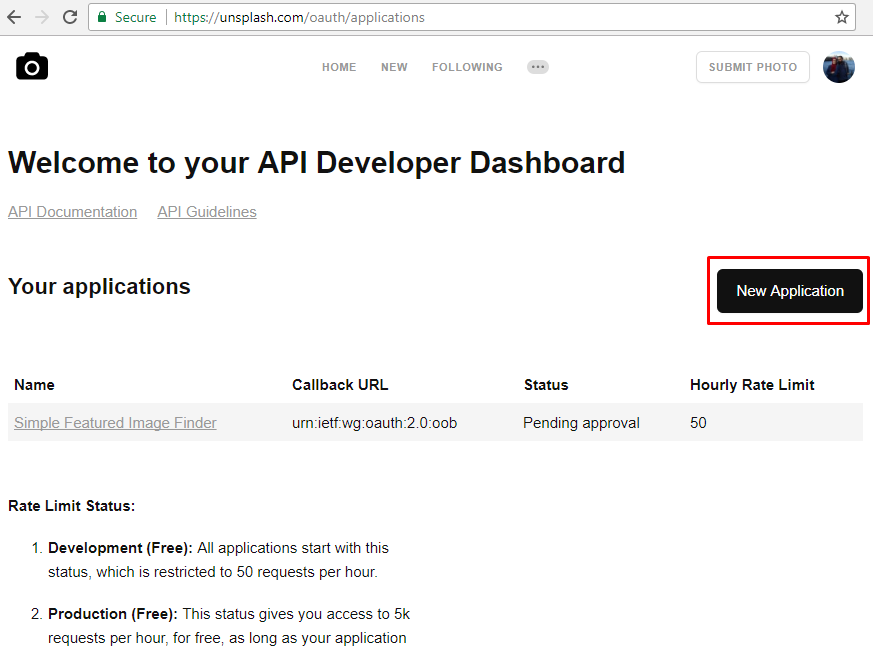 Unsplash developers apps list page with new application button on side