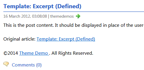 The displayed copyright notice at the end of every article in the full text RSS feed.