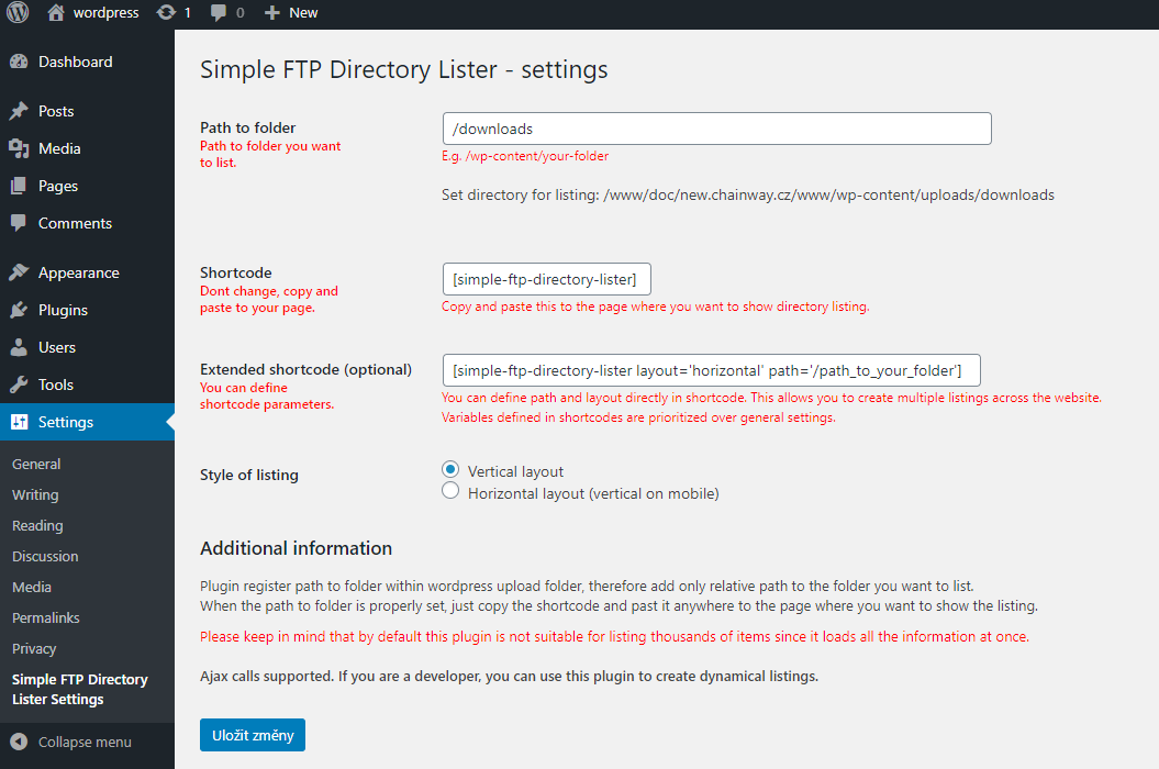 Simple FTP Directory Lister