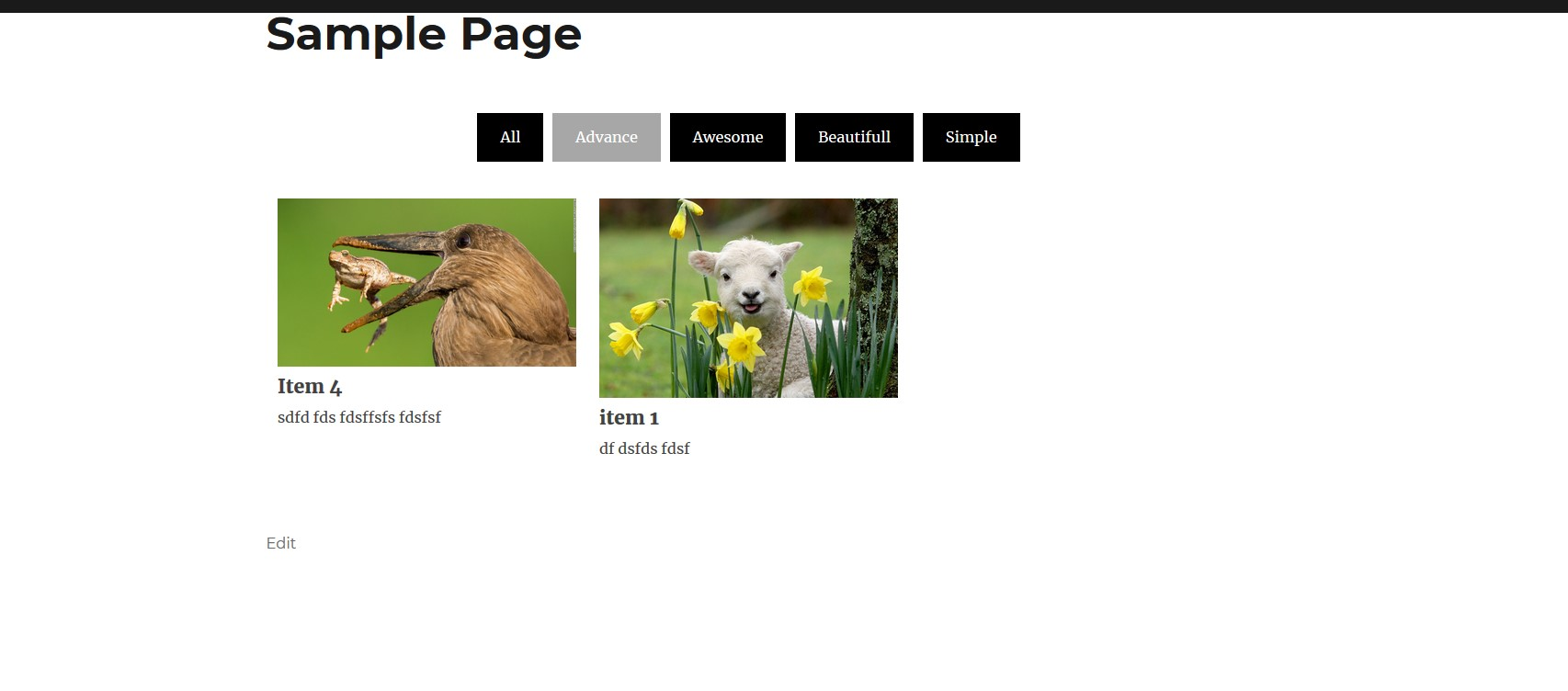 Filter active menu view.
