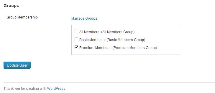 Group membership selection on edit user page.