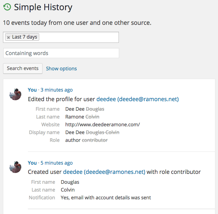 Simple History screenshot