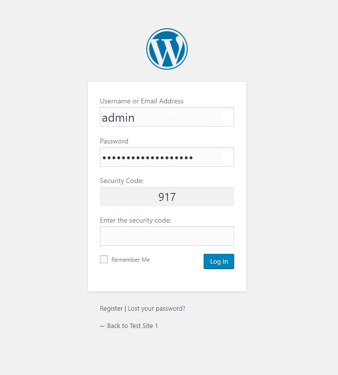 WordPress login form with the simple captcha