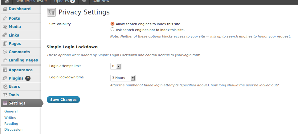 The plugin options on the Privacy Settings page