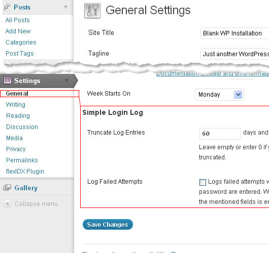 Simple Login Log Settings.