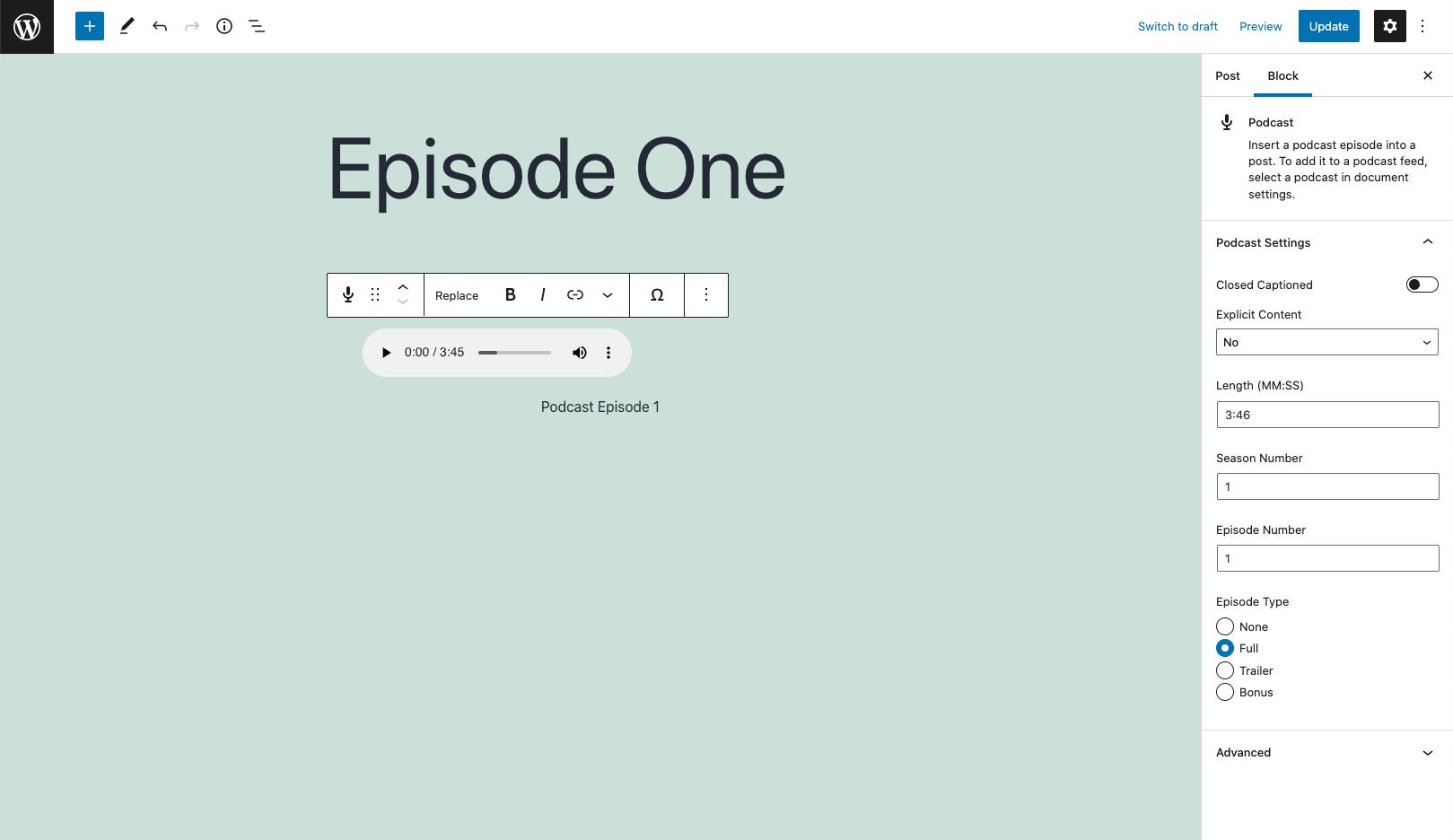 Podcast block in the WordPress block editor (aka Gutenberg)