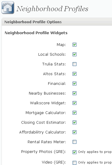 Neighborhood profile options.