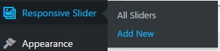 """After installing the plugin """"Responsive Slider"""" will appear in your dashboard."""