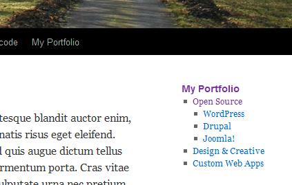 """Screenshot of widget output on """"Open Source"""" page under top level page """"My Portfolio"""", running Twenty-Ten theme"""