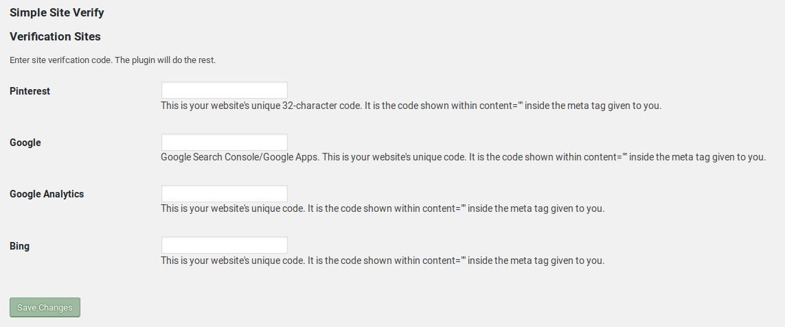 Simple Site Verify
