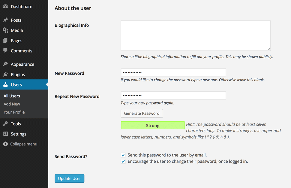 "New ""Generate Password"" button and ""Encourage user to change their password"" features seen on the add new users screen."