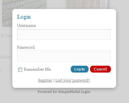 Login screen with the default theme.