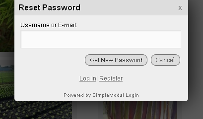 Reset Password screen with the osx theme.