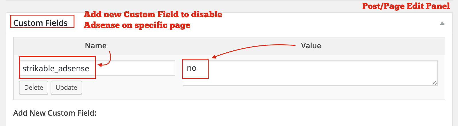 Disable Adsense on Specific Post/Page - Add Custom Field <code>crunchify_adsense</code> with value <code>no</code>