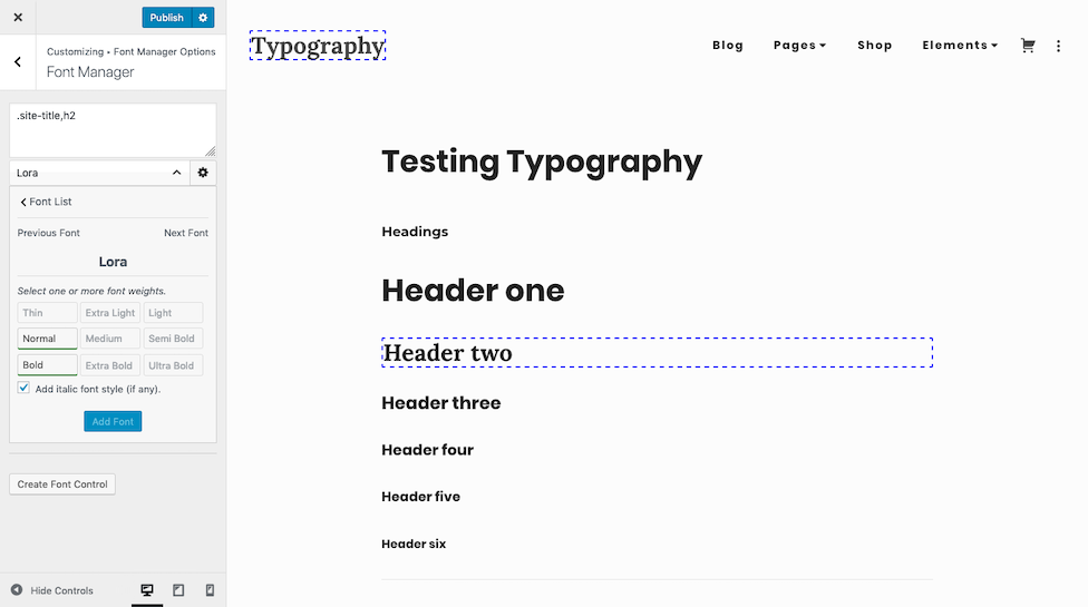 Simplified font manager font selection.