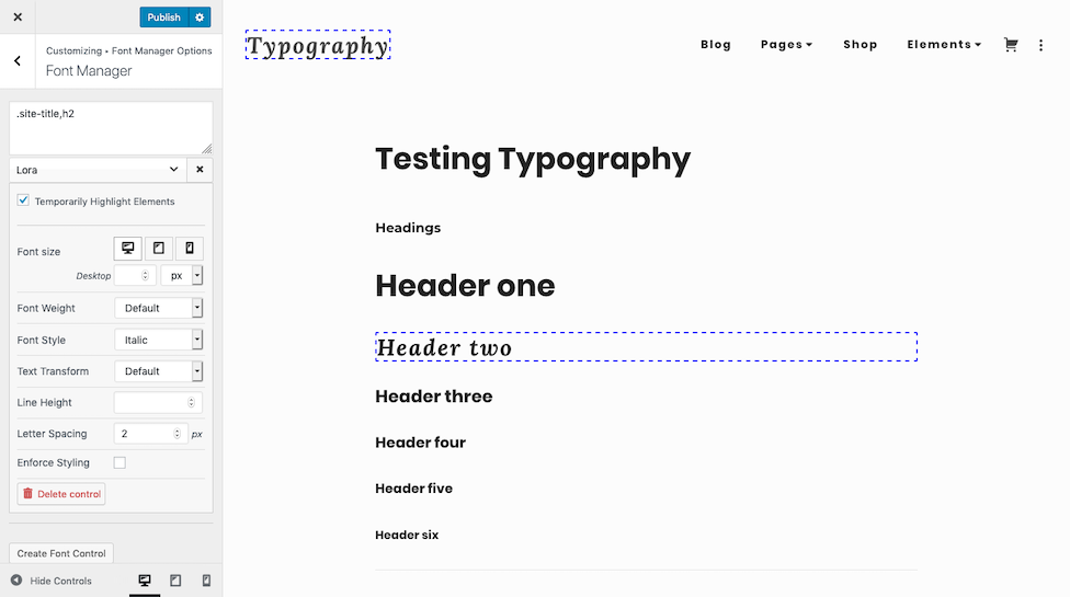 Simplified font manager typography controls.