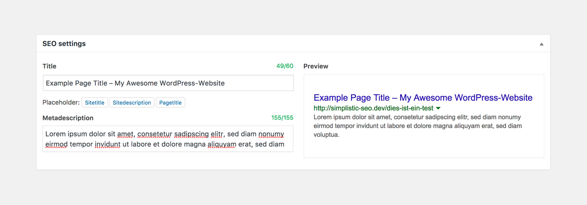 Optimize title tag and meta description directly from the post screen. On the right you will see how your website will look like in Googles search results.