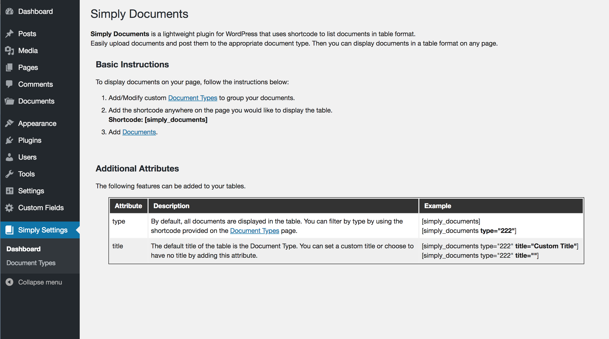 Simply Settings Admin page