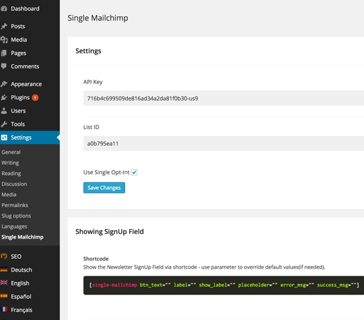 Wordpress Editor with Single Mailchimp