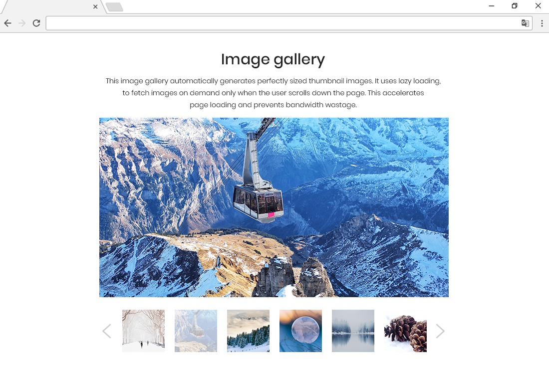 Responsive image gallery, with perfectly scaled images.