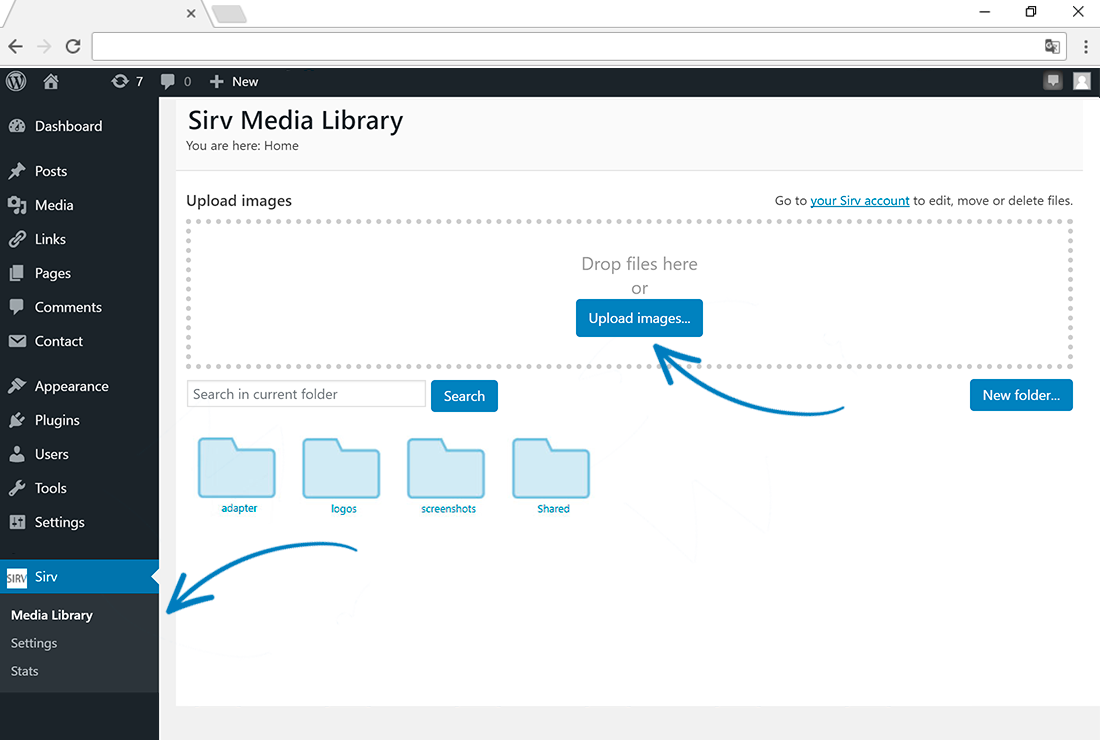 To upload images to your Sirv library, go to the Media Library page within the Sirv sub-menu (in the left navigation column).