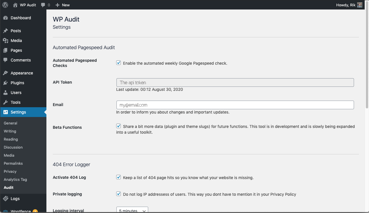 Settings. There are some options to customise the experience like private 404 logging and the interval for logging or cleaning the logs table.