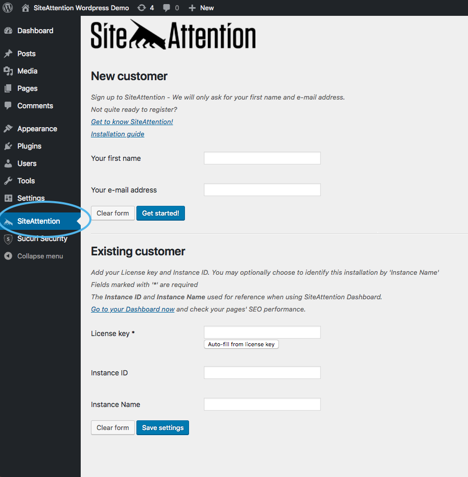SiteAttention SEO Plugin Tab (left side menu)