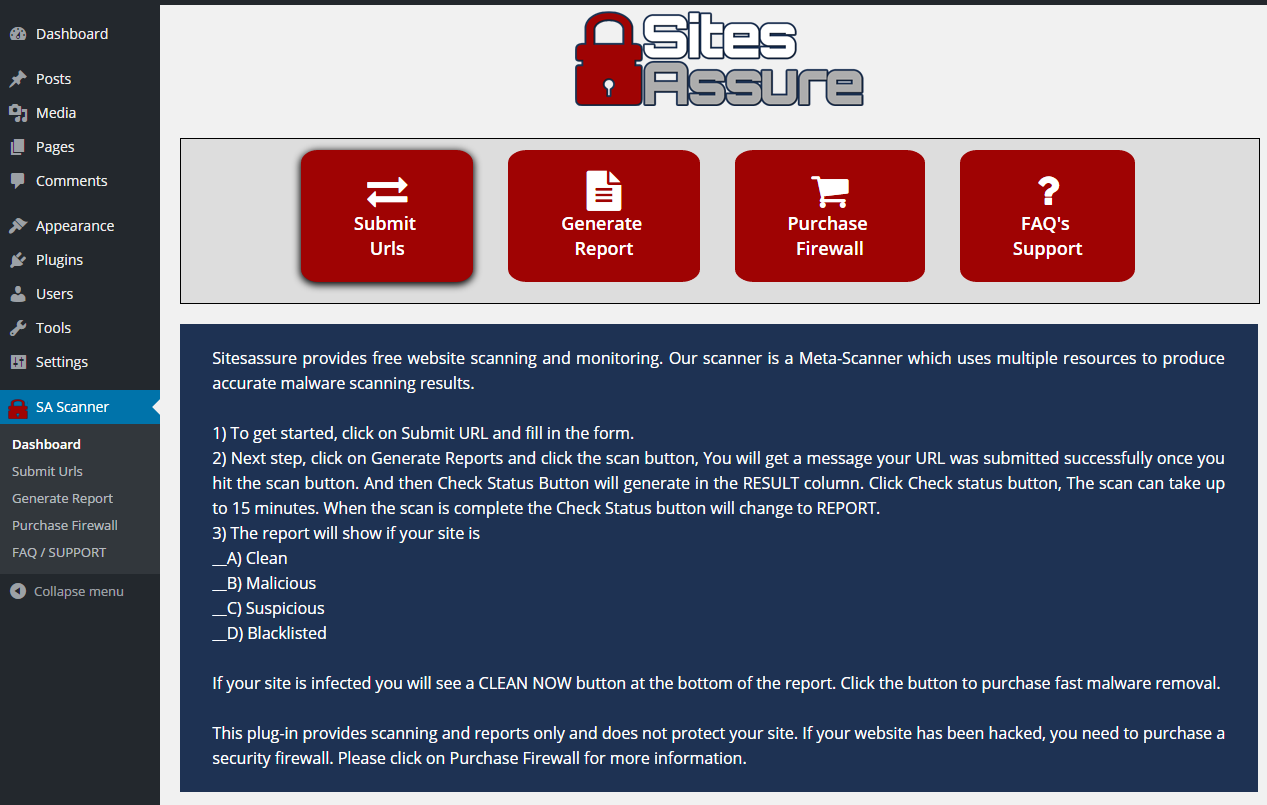sitesassure-wp-malware-scanner screenshot 1