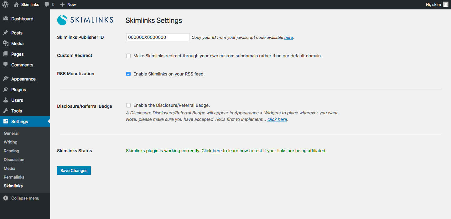 The Skimlinks settings page
