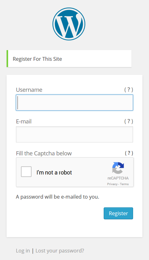 This is how the Register Form will look like