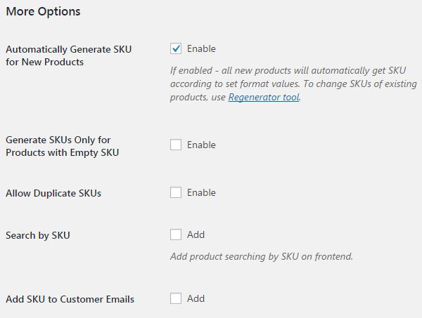 SKU Generator for WooCommerce - More Options.