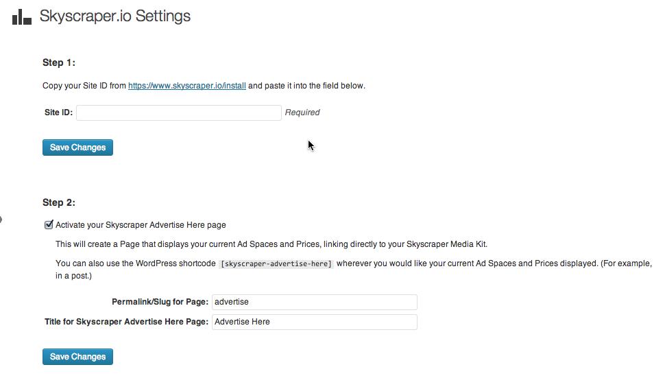 Skyscraper admin settings page.