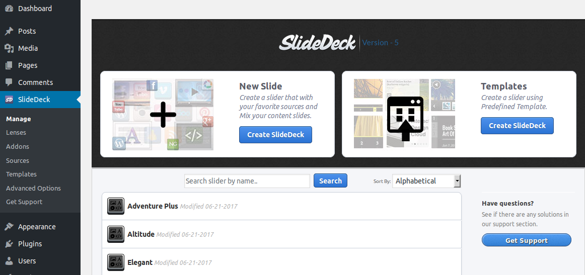 The SlideDeck manage view.