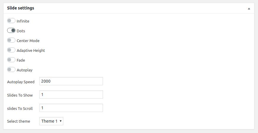 Slider Config options screen.
