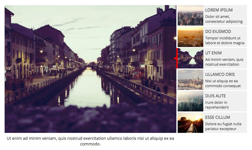 Slider with right-side thumbnails.