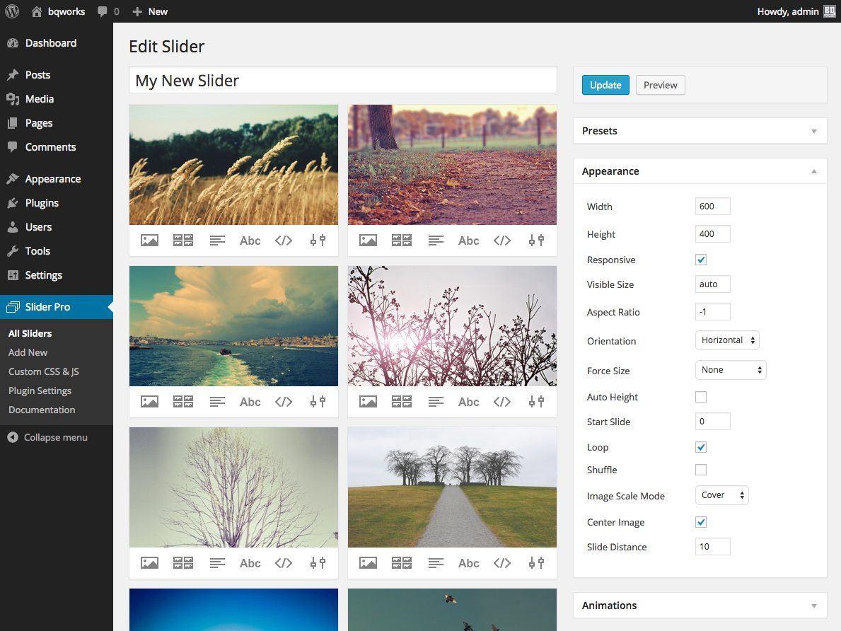 The admin interface for creating and editing a slider.
