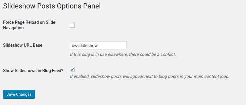 Plugin options panel