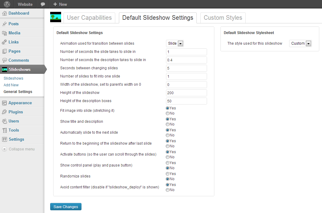 <p>Default slideshow settings can be edited here. Slideshows that are newly created, will start out with these options.</p>