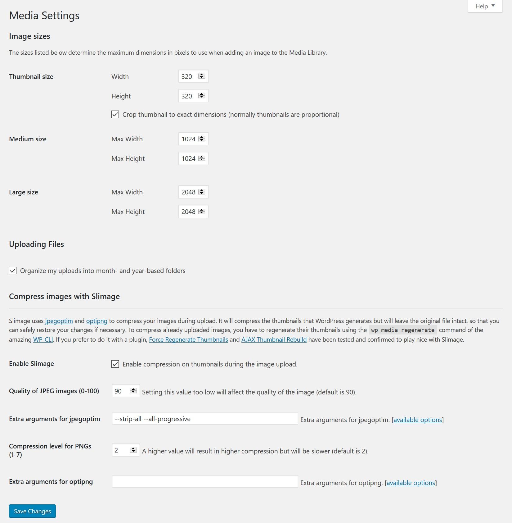 The main settings of the plugin, under Settings / Media.
