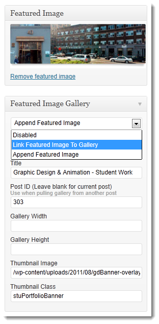 "Sample of the ""featured image gallery"" options which links your featured image to a gallery popup."
