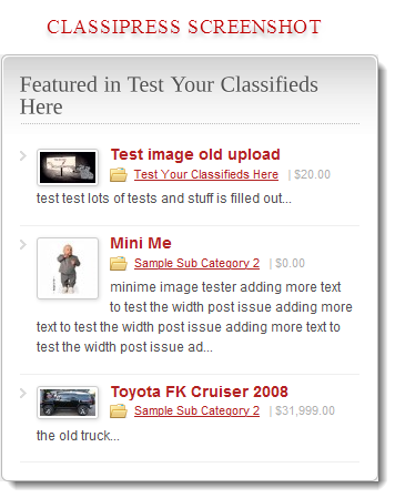 A sample of the widget when used on premium theme like ClassiPress.