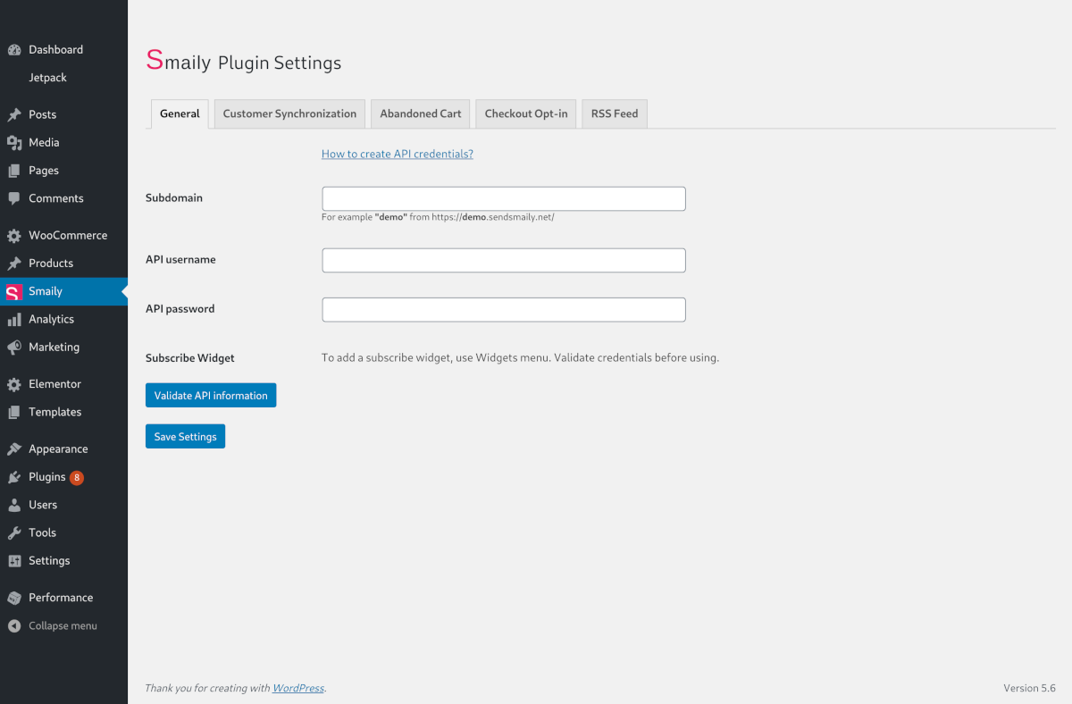 WooCommerce Smaily validate settings screen.