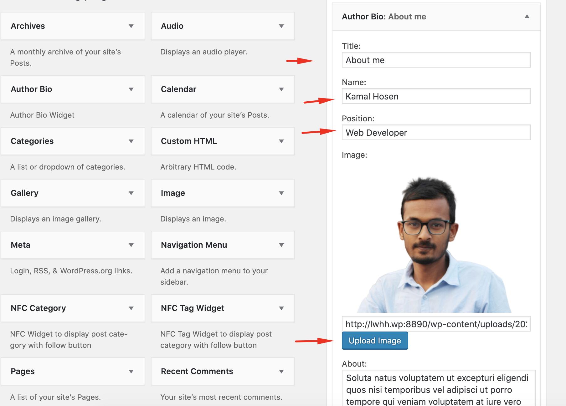 Change widget fields options
