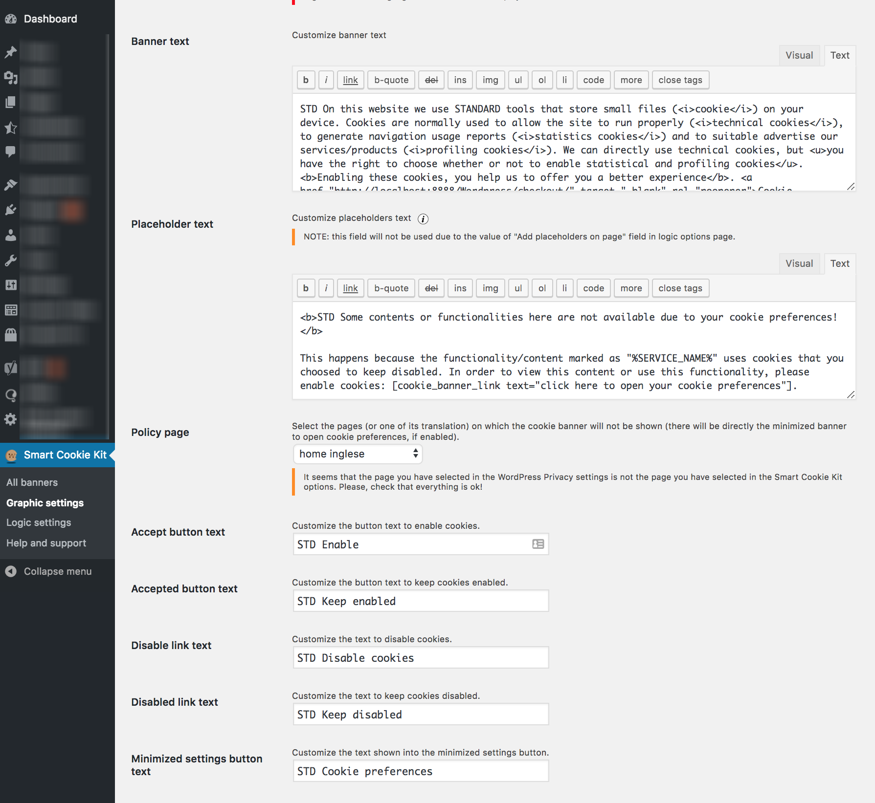 Backend graphic option page (2/2)