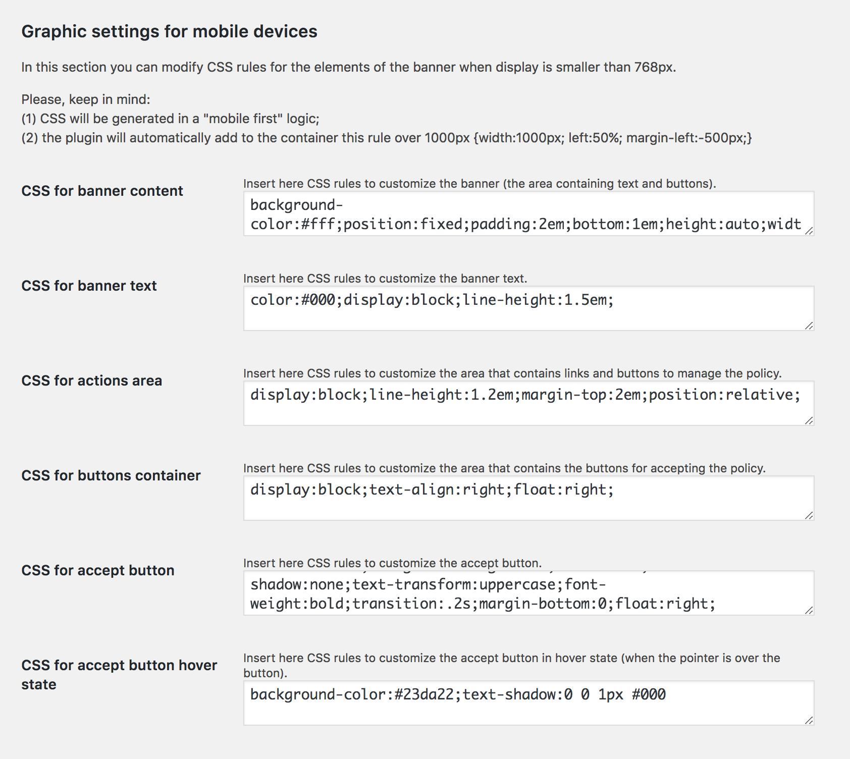 Backend logic option page