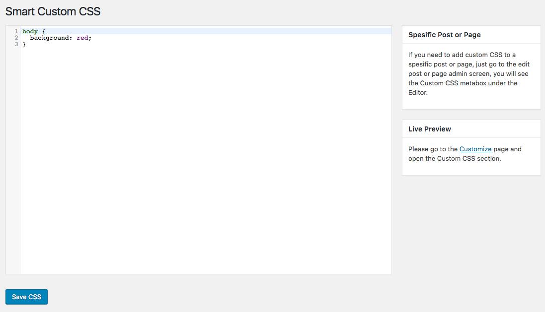 Custom CSS settings.