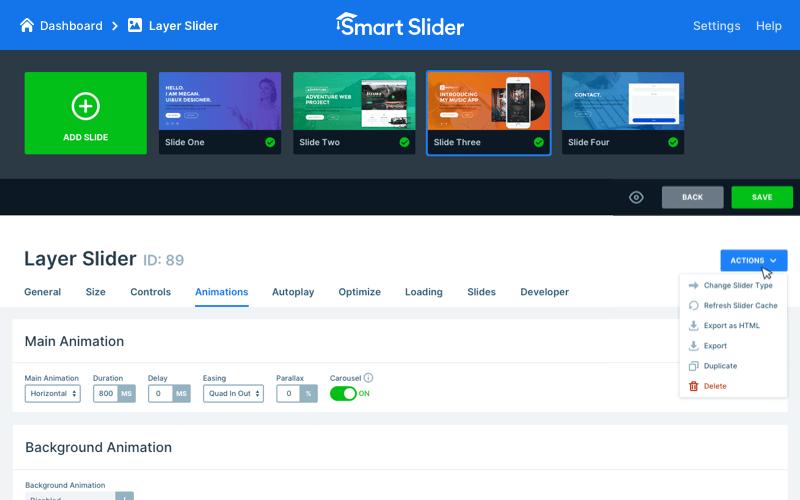 Slider settings