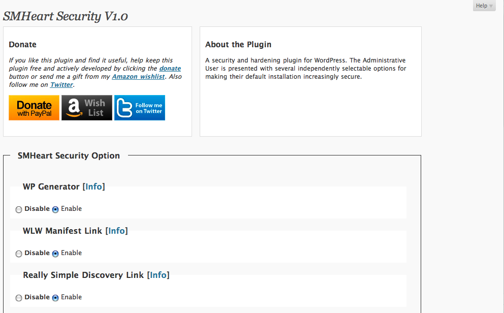 This screenshot is of the existing configuration screen for the plugin.
