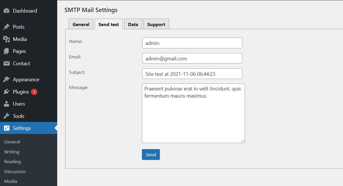 SMTP Mail - Send test.