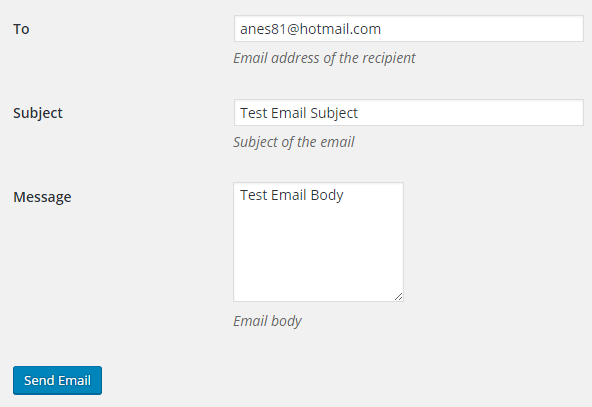SMTP Mailer Test Email Tab